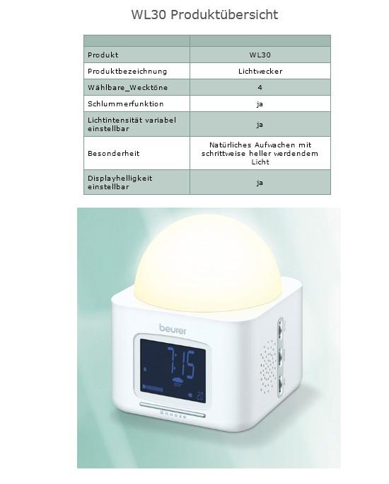 beurer wl 30 lichtwecker wake up light wl30 wecker ebay. Black Bedroom Furniture Sets. Home Design Ideas