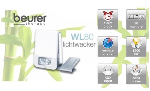 beurer wl 80 lichtwecker mit stimmungslicht melodie wecker wl80 ebay. Black Bedroom Furniture Sets. Home Design Ideas