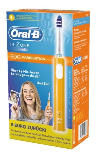 braun oral b trizone 500 farbedition elektrische zahnb rste farbe orange ebay. Black Bedroom Furniture Sets. Home Design Ideas