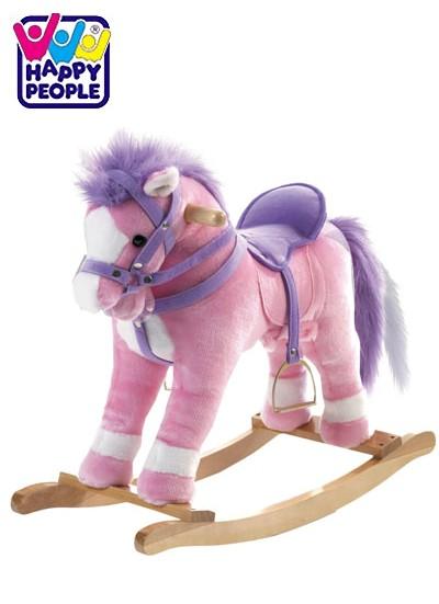 happy people 58461 schaukelpferd rosa mit sound pferd ebay. Black Bedroom Furniture Sets. Home Design Ideas