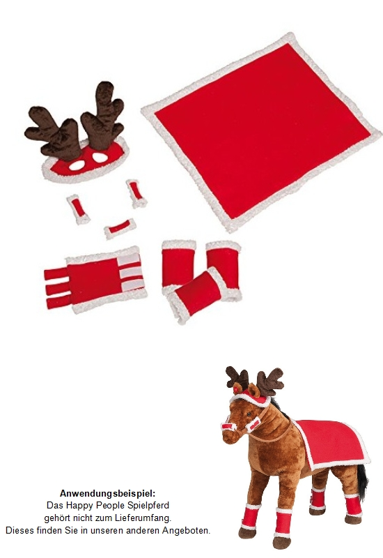 happy people 58467 pferde weihnachts set 9 tlg satteldecke elchgeweih spielpferd ebay. Black Bedroom Furniture Sets. Home Design Ideas