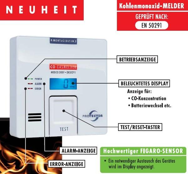 PROTECTOR Kohlenmonoxid-Melder CO-300F Warnmelder CO300 Gasmelder CO 300