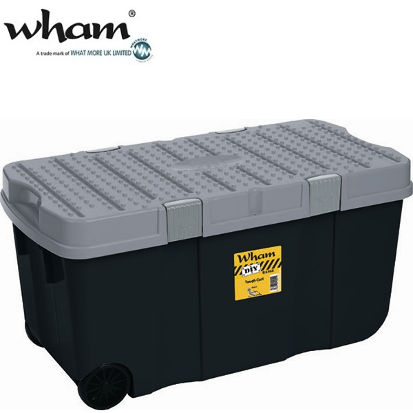 wham 10613 mobile aufbewahrungsbox 100l schwarz 80x40x40 werkzeugbox box kiste ebay. Black Bedroom Furniture Sets. Home Design Ideas