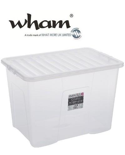 wham 11315 aufbewahrungsbox deckel 80l clear 60x40x42cm spielzeugbox box kiste ebay. Black Bedroom Furniture Sets. Home Design Ideas