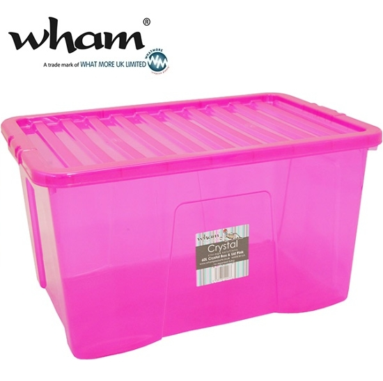 wham 14027 aufbewahrungsbox deckel 60l pink 60x40x33cm. Black Bedroom Furniture Sets. Home Design Ideas