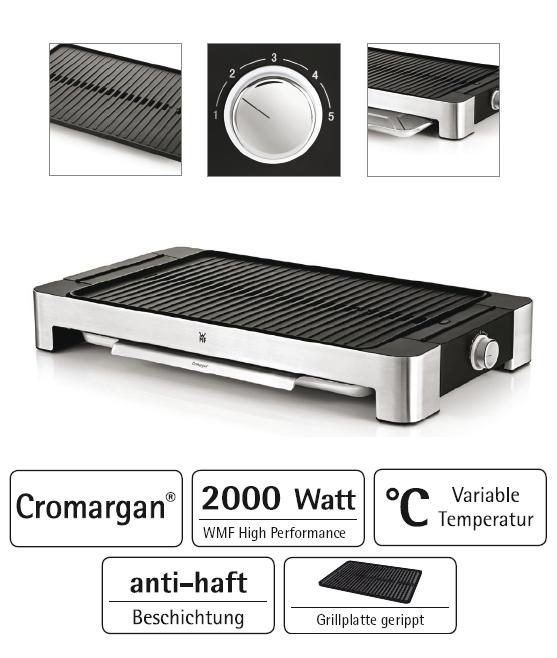 wmf lono tischgrill cromargan gerippte grillfl che 415030011 grill tischgrill ebay. Black Bedroom Furniture Sets. Home Design Ideas